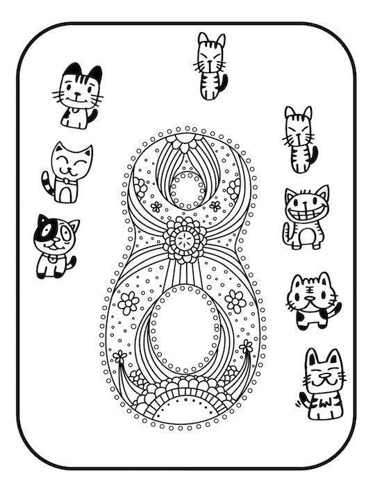 Doodle Katzen zum Ausmalen und Zählen