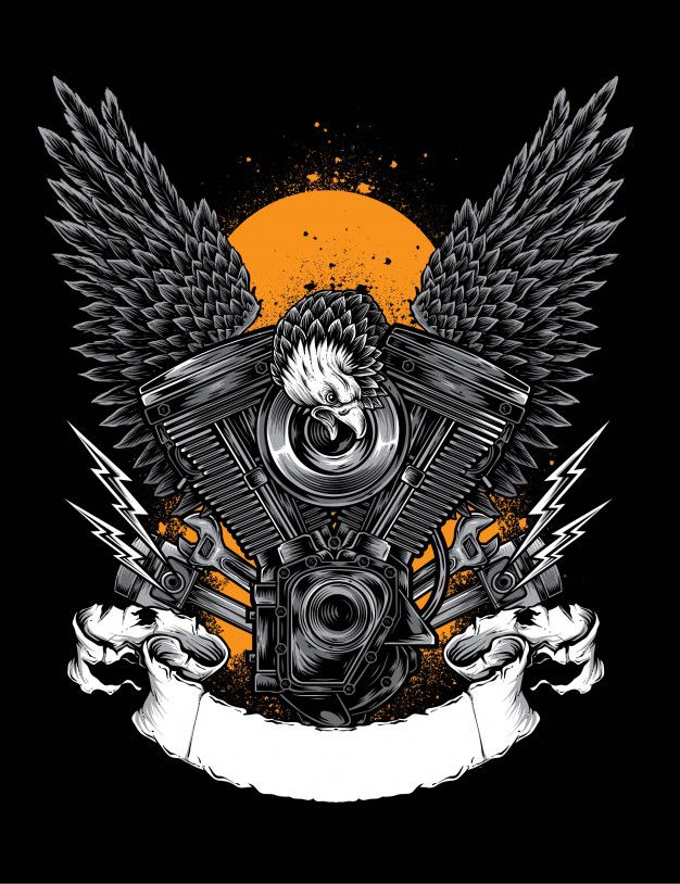 Eagle engine vector Premium Vector Motorcycle drawing in