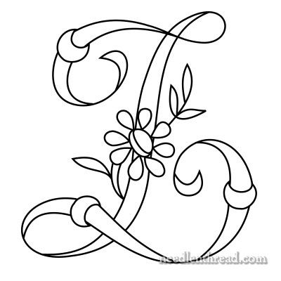 (^_^) Daisy and Rings Monogram for Hand Embroidery: Z
