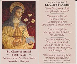 St  Clare of Assisi Prayer | Amazon com : Saint Clare of