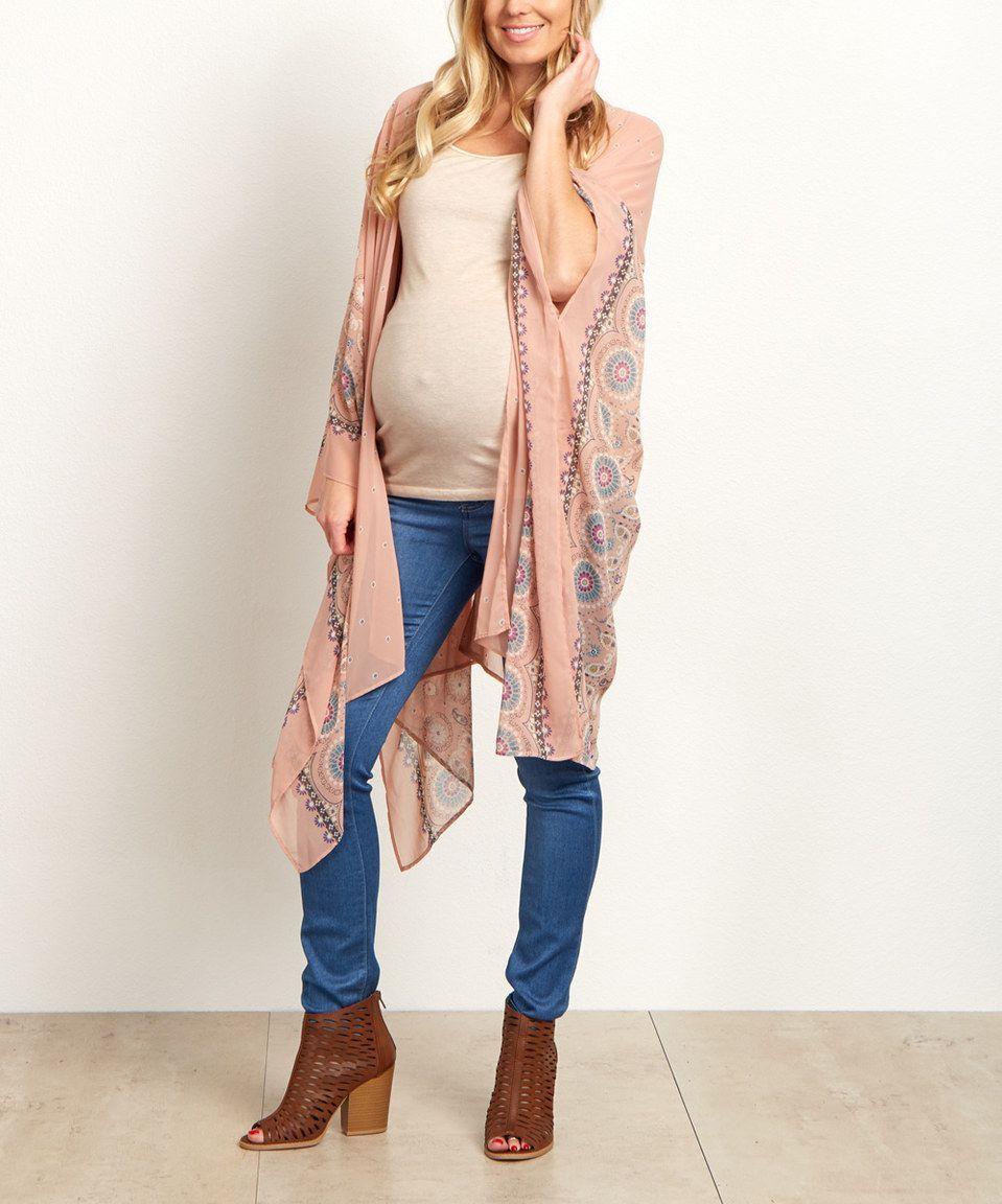 95888b6997f4 This PinkBlush Pink Floral Border Chiffon Maternity Kimono by PinkBlush  Maternity is perfect! #zulilyfinds