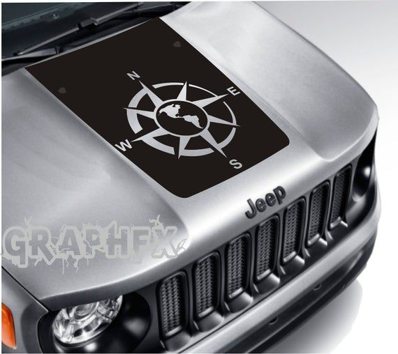 Vinyl Hood Decal Compass Compatible With Jeep Renegade 2015 2020 Jeep Renegade Jeep Car Wash
