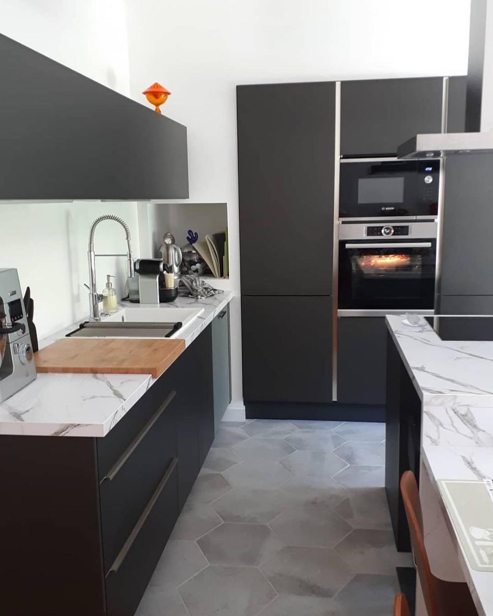 Plan De Travail Cuisinella cuisine de @renovation_au_no.16 : façades métal brossé, plan