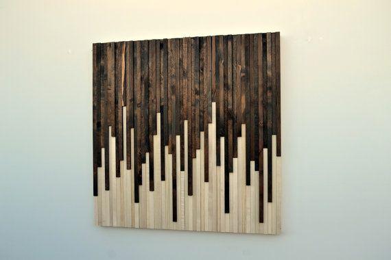 Wall Art - Wood Wall Art - Rustic Wood Sculpture Wall Installation