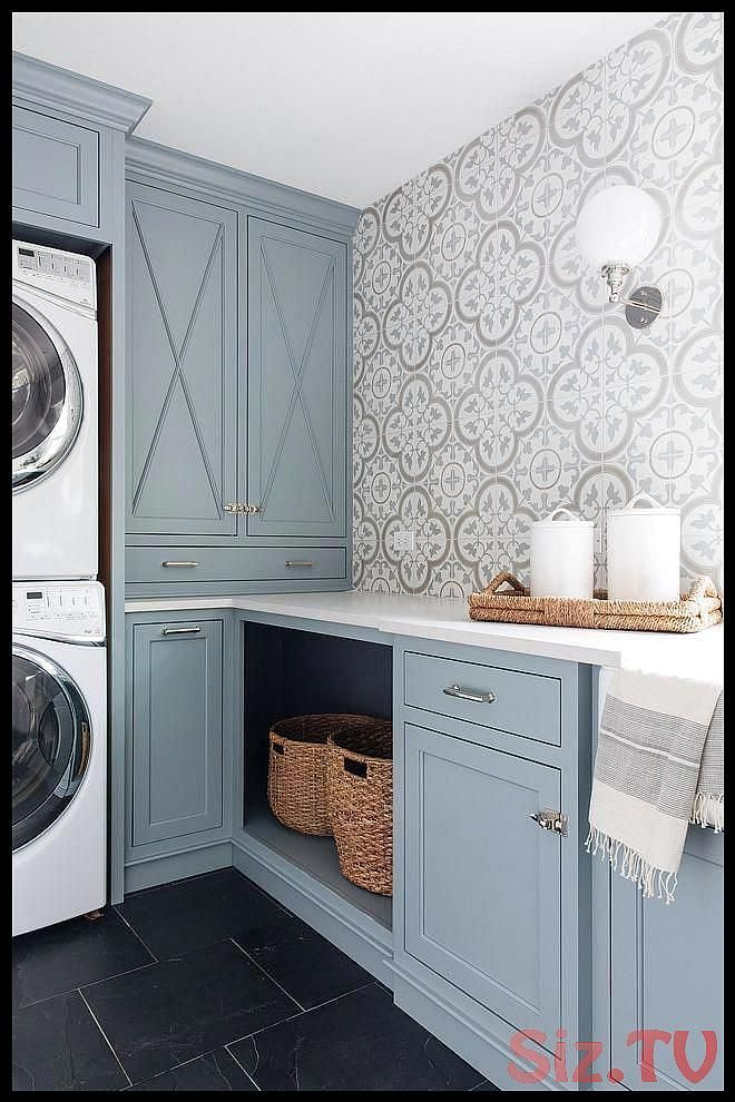 These Benjamin Moore Cloudy Sky laundry room cabinets are the perfect example of a blue gray paint colors  laundryroom bathroomwallpaper These Benjamin Moore Cloudy Sky laundry room cabinets are the perfect example of a blue gray paint colors  laundryroom bathroomwallpaper Amanda Pope Save Images Amanda Pope These Benjamin Moore Cloudy Sky laundry room cabinets are the perfect example of a blue g #bathroomwallpaper #benjamin #cabinets #cloudy #colors #graylaundryroom #laundry #laundryroom #moore #graylaundryrooms