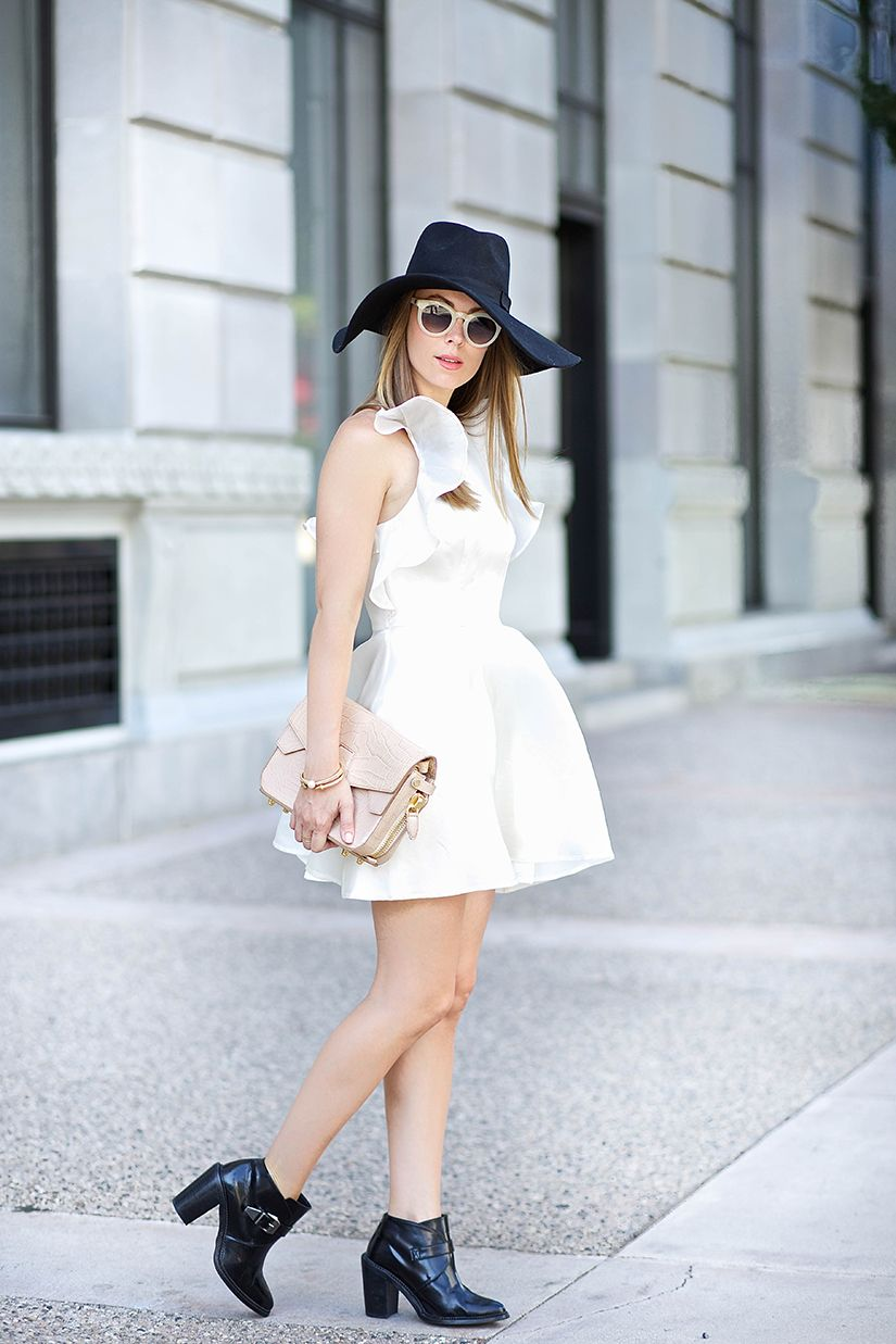 ruffled dress with fedora hat