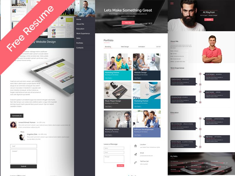 Free Personal CV Resume Web Template (135 MB) psdboom - resume web template