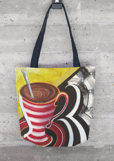 """""""JAVA JUICE"""" Tote ~  $55  Artist: Sharon Gilbertson ~  For clothing collection - follow link on website to Sharon's VIDA VOICES shop.  Thank you."""
