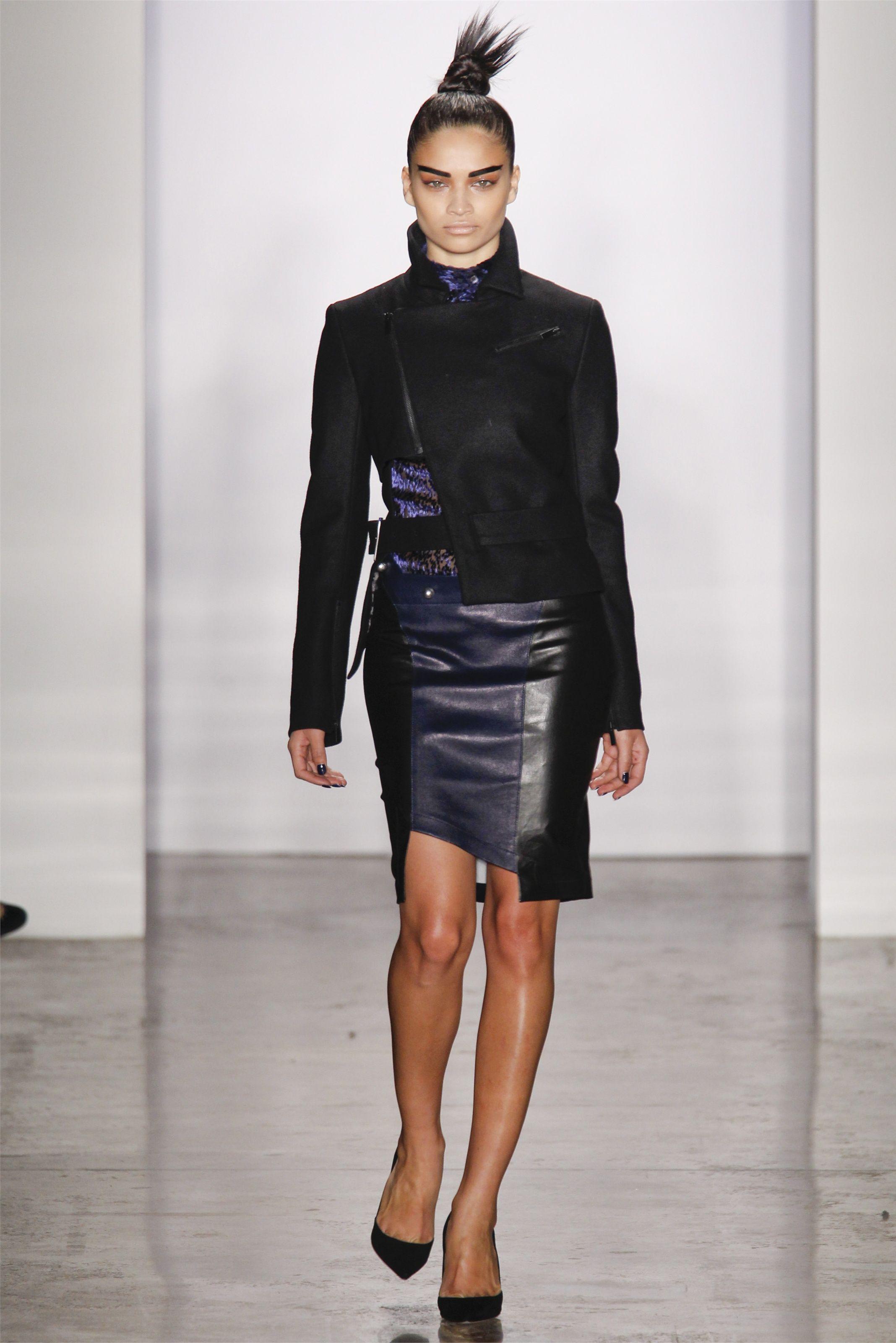 Asymmetrical wool jacket with a peep of a print @ Kevork Kiledjian FW12
