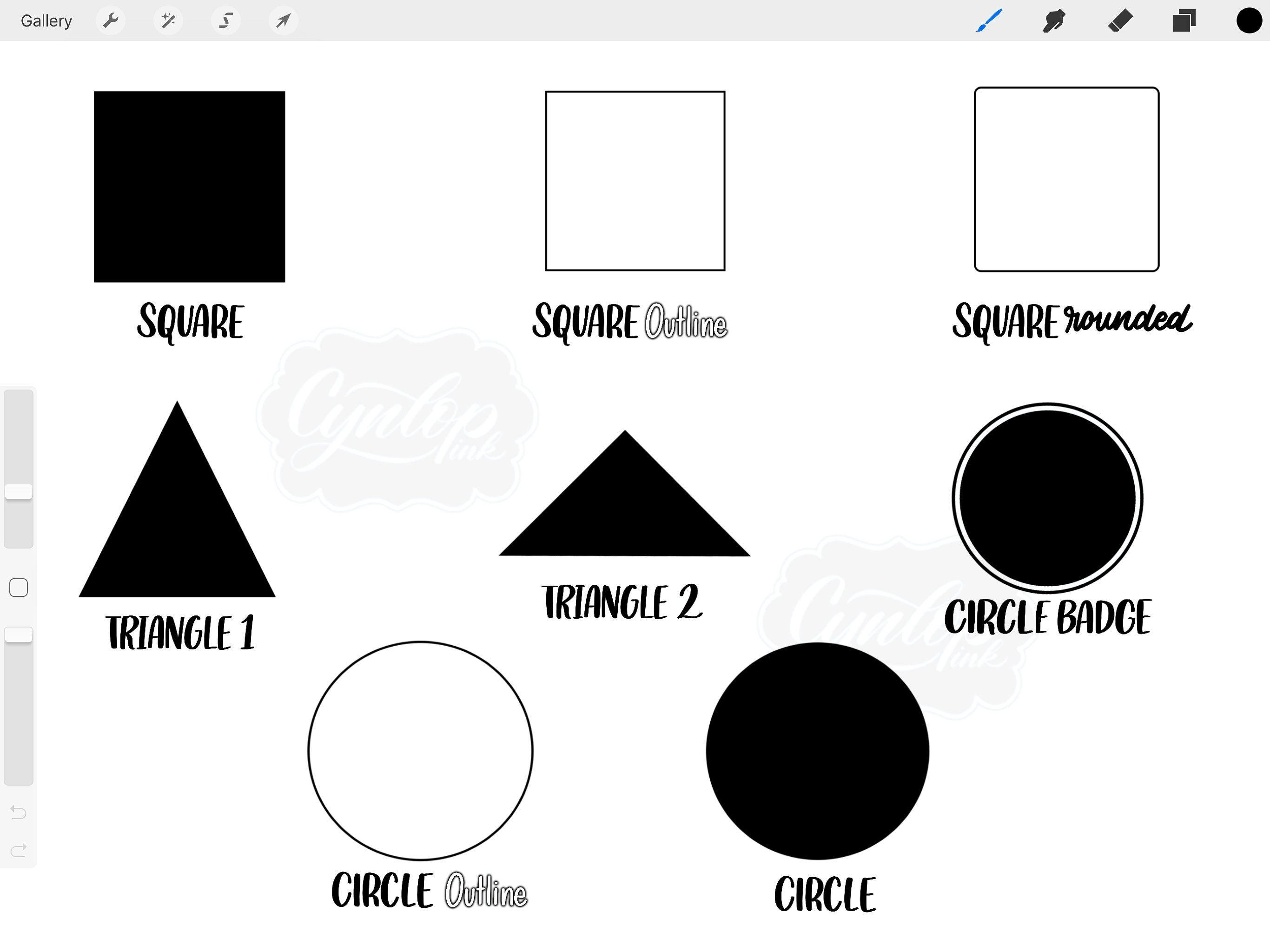 Procreate Brush Stamp Shapes Pattern app, Circle outline