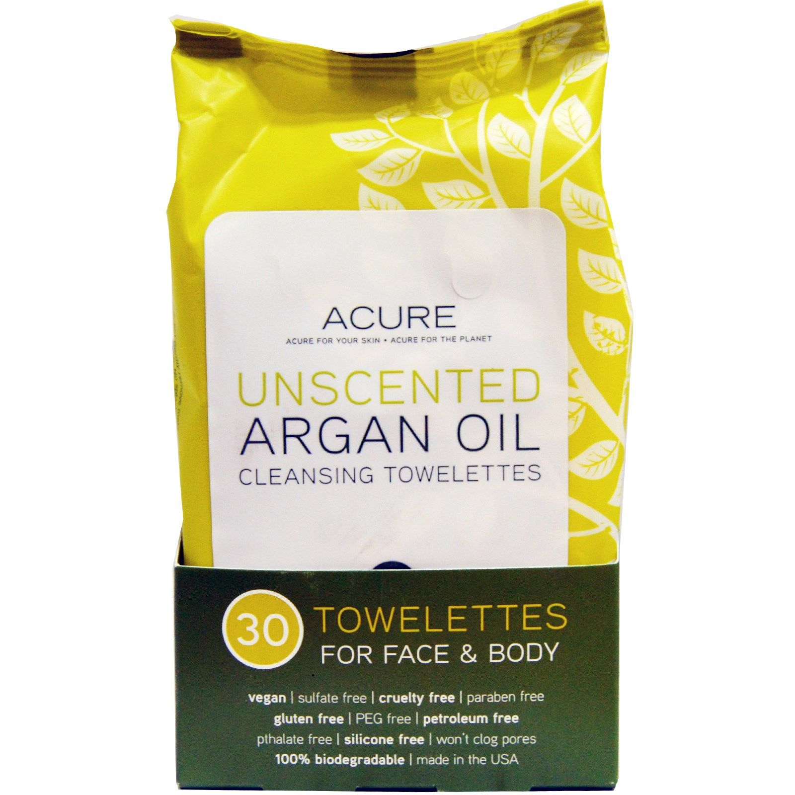 Acure, Cleansing Towelettes, For Face & Body, Unscented