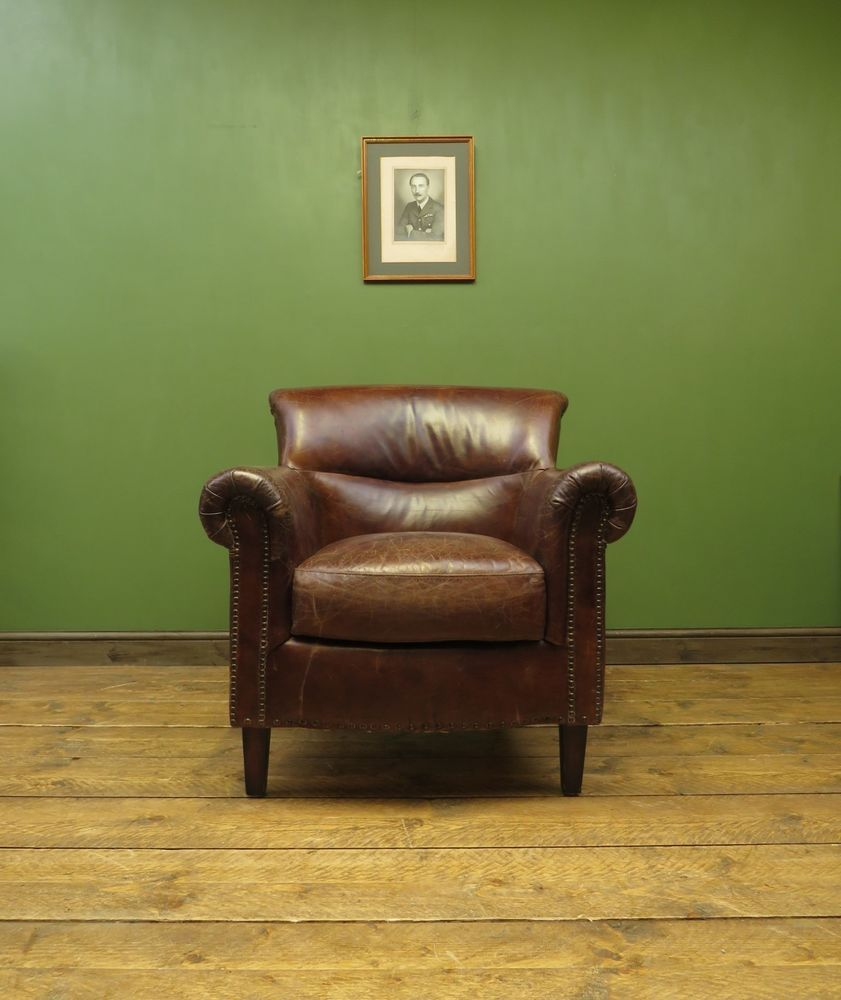Leather Club Chair, Artsome Coach House Collection Vintage Aged Look  #Artsome #VintageRetro
