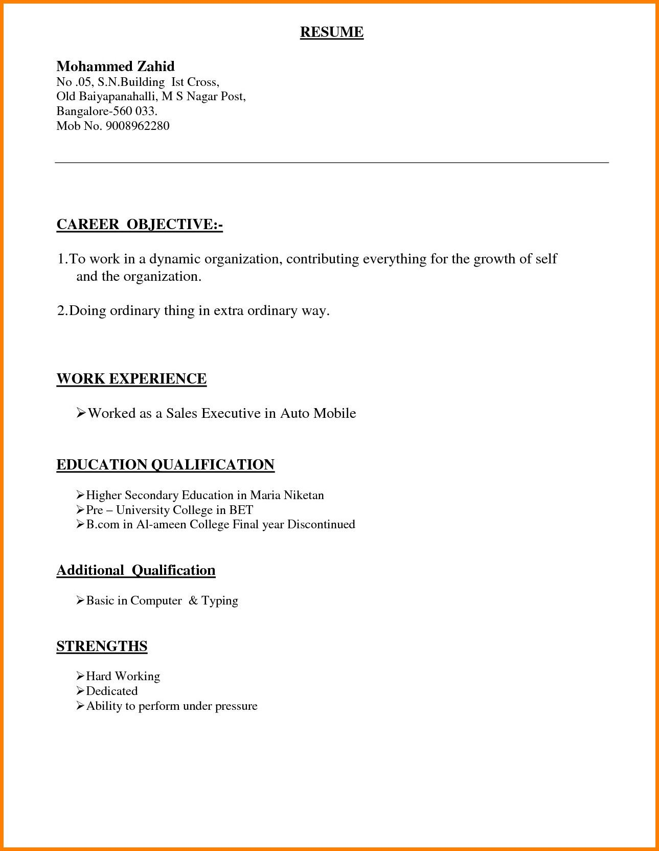 6 different types of resume format Charmant Different