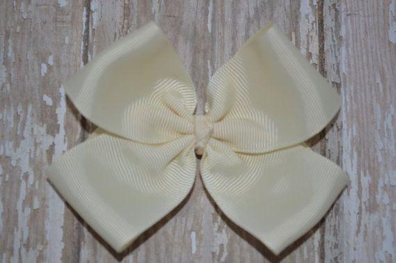 Cream Simple Bow, Hair Bow, Small Bow, M2M, Medium Bow, Large Bow, Big Bow, Hair Accessory, Hair Clip, Boutique Bow, Spring, Fall, Summer