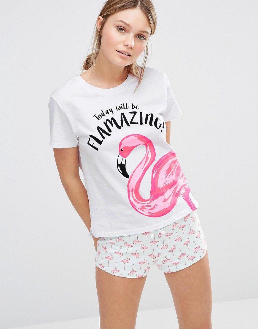 Image 1 of new look flamingo print t shirt short pyjama T shirt and shorts pyjamas
