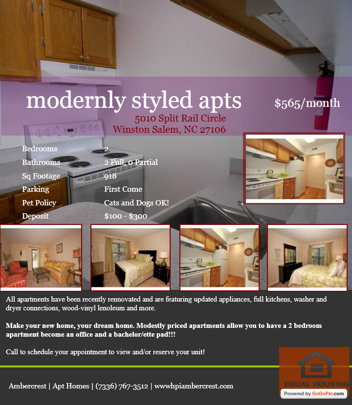 """""""Too Beautiful for Craigslist"""" #23  Powered by GoGoPin  Editor's Pick (Jan 18, 2013)    """"Modernly Styled Apts in Winston Salem, NC""""  (736) 767-3512  http://www.hpiambercrest.com/"""
