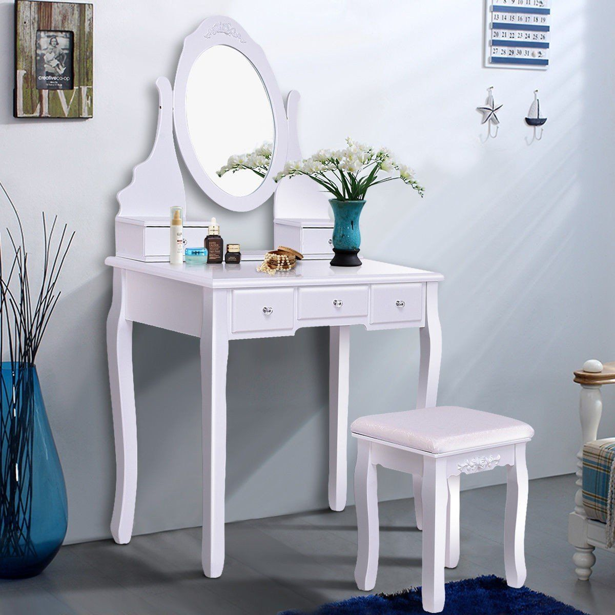 Mirrored Jewelry Wooden Vanity Table Set W 5 Drawers Come And