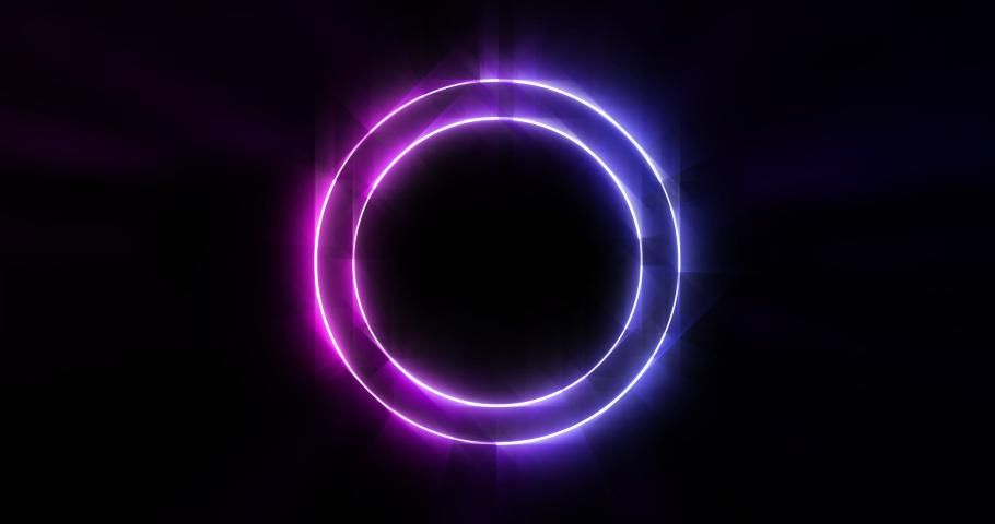 Purple and Blue Neon Circle Stock Footage Video