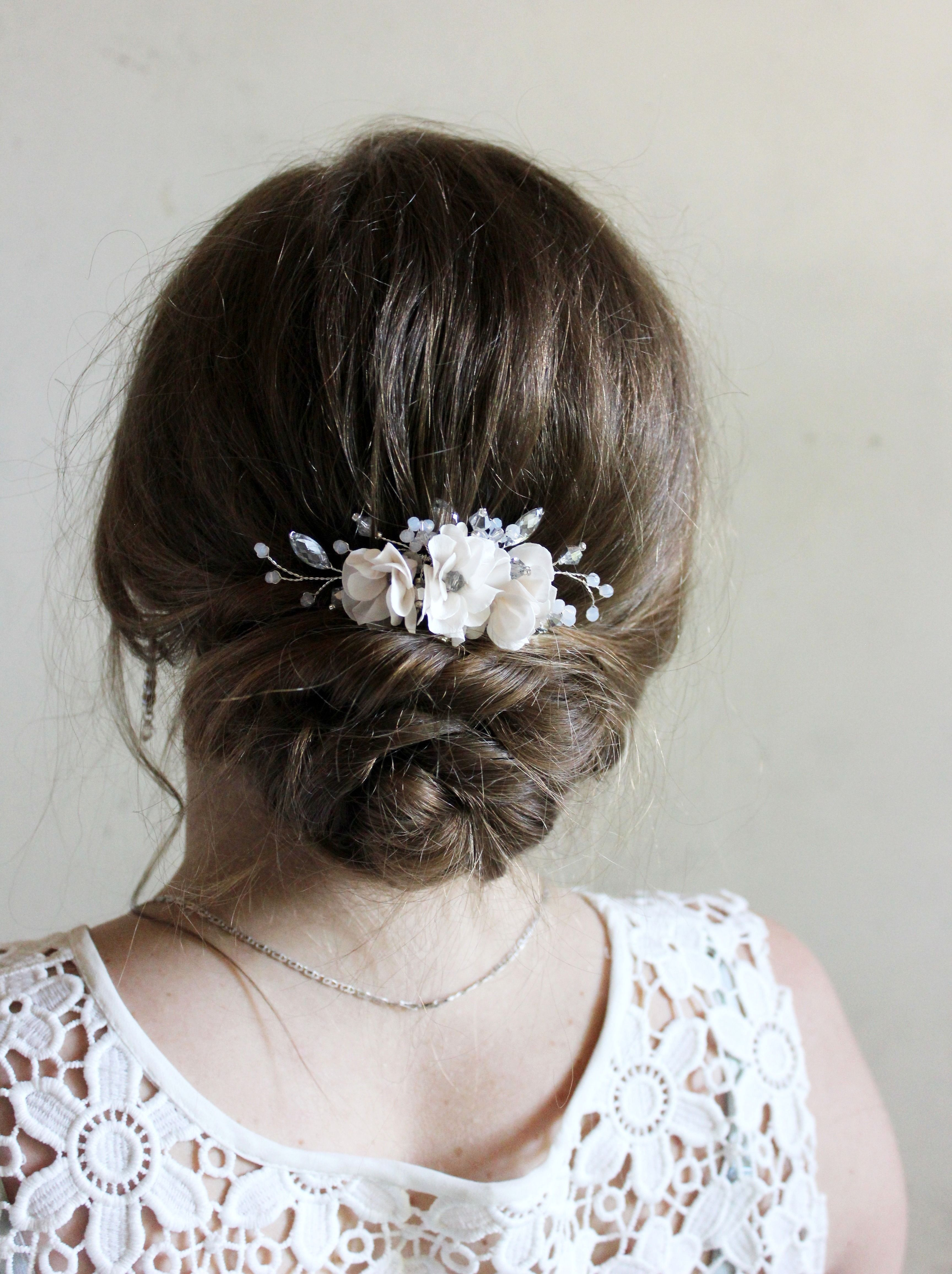 bridal headpiece wedding flower hair comb silver blush pink