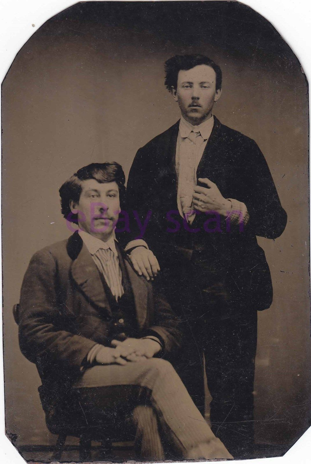 Antique TINTYPE/Ferrotype Handsome Young Men/Couple #279 Vintage Photograph
