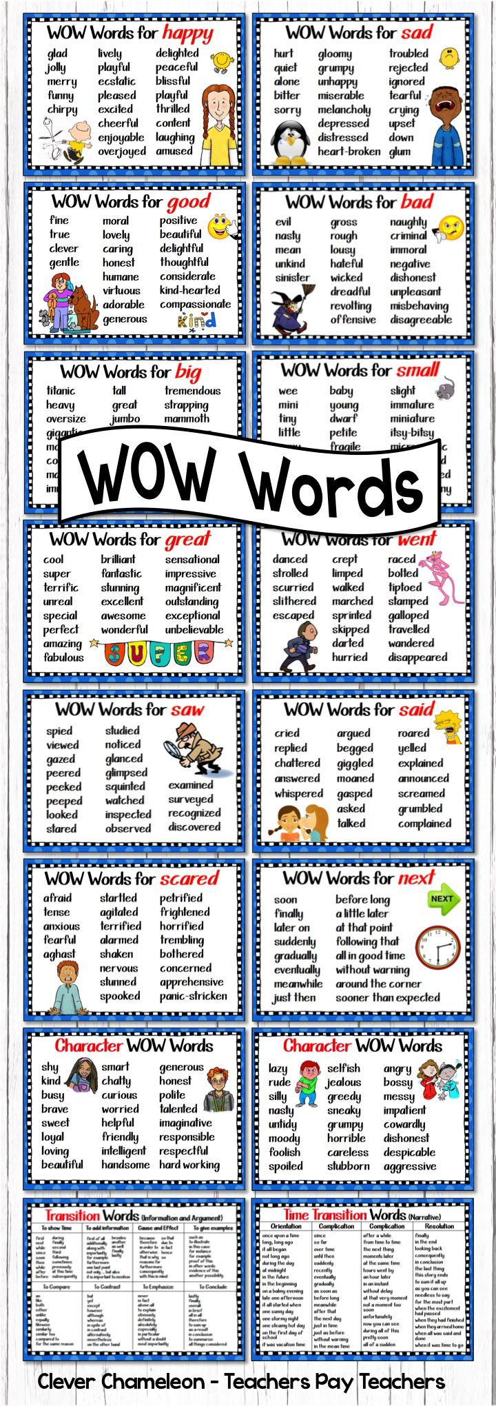 Synonym Charts, Posters and Flip Books for 20 Synonyms ...
