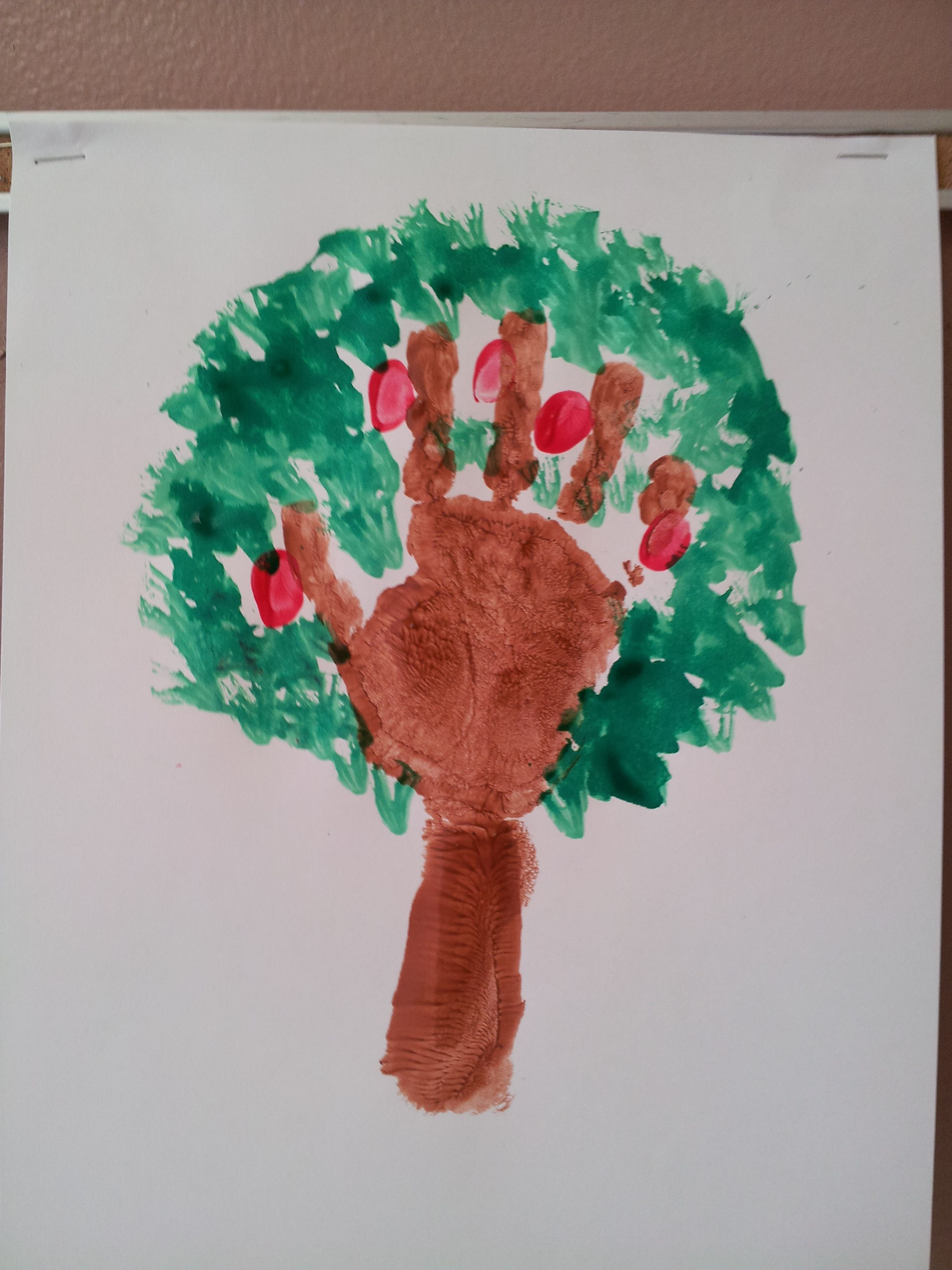 Hand, arm, finger print apple trees I made with the kids