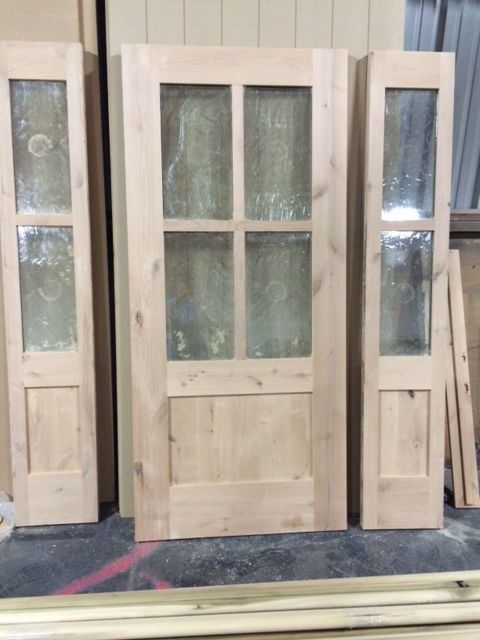 Knotty Alder 4 Lite Shaker Mission Style Entry Door With