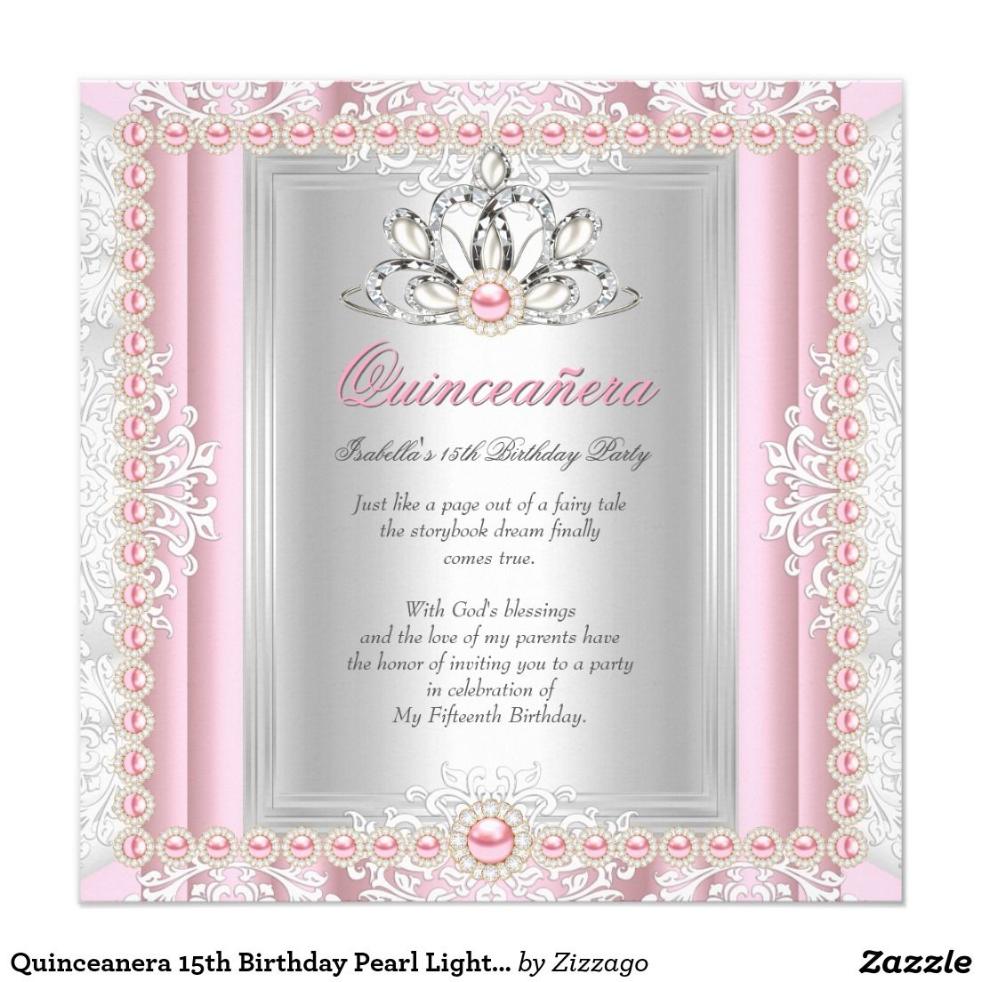 Quinceanera 15th Birthday Pearl Light Pink Invitation | QUINCEANERA ...