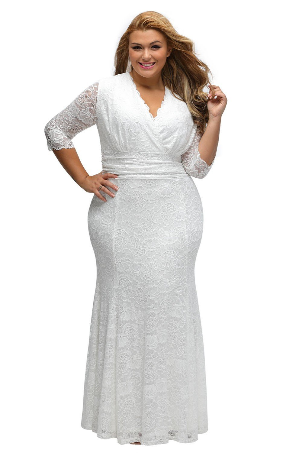Plus size bling wedding dresses  Vneck Plus Size Lace Party Dress  Lace party dresses and Products