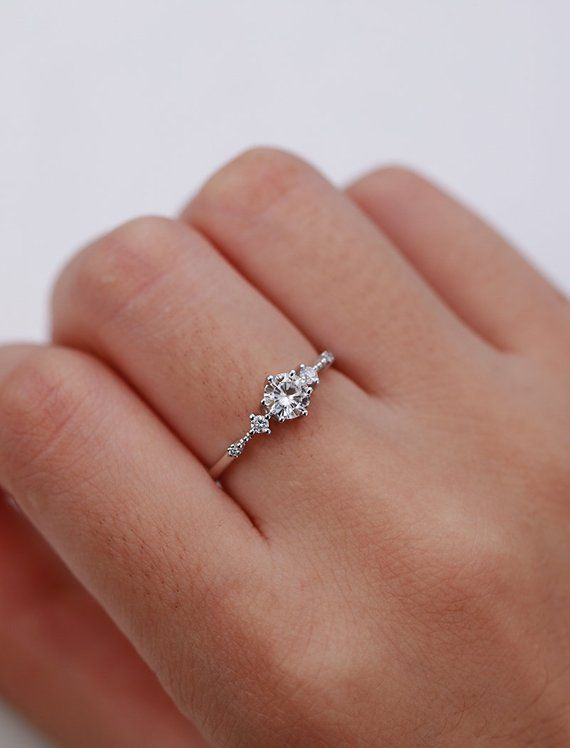 Photo of 5mm Moissanite engagement ring Vintage Unique diamond Cluster ring white gold wedding Delicate Bridal set Promise Anniversary Gift for women
