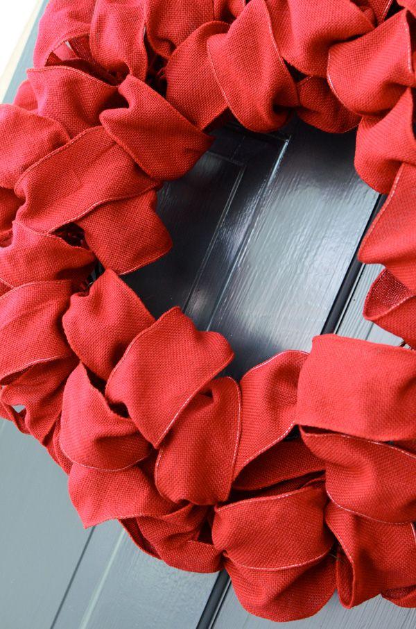 Photo of DIY Red Burlap Ribbon Wreath
