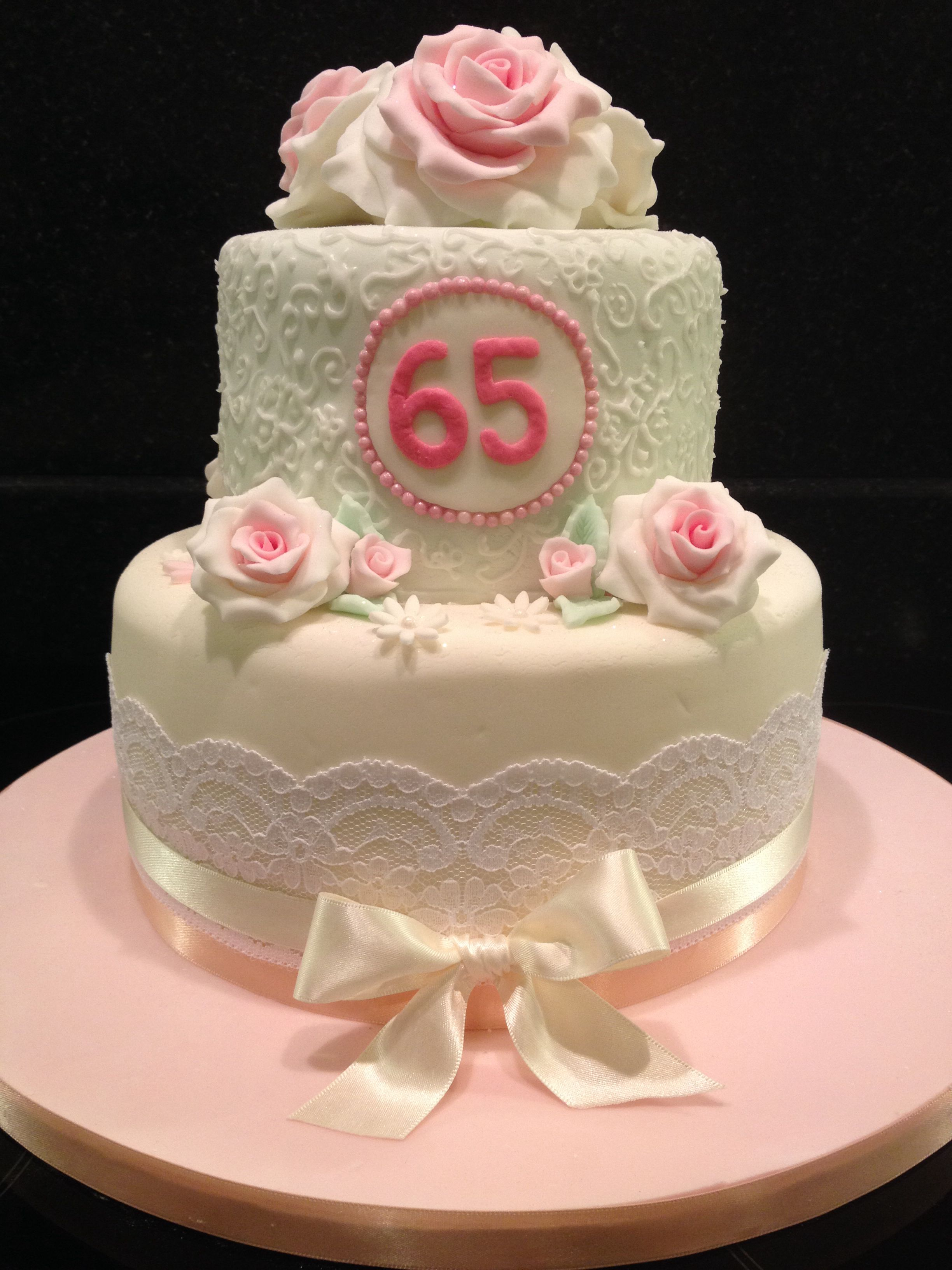 65th Birthday Cake Subtle Pastel Colours