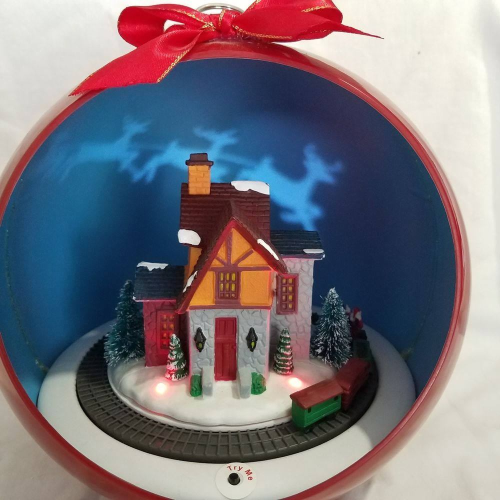 "8"" MUSICAL ANIMATED CHRISTMAS ORNAMENT WITH TRAIN SET AND ..."