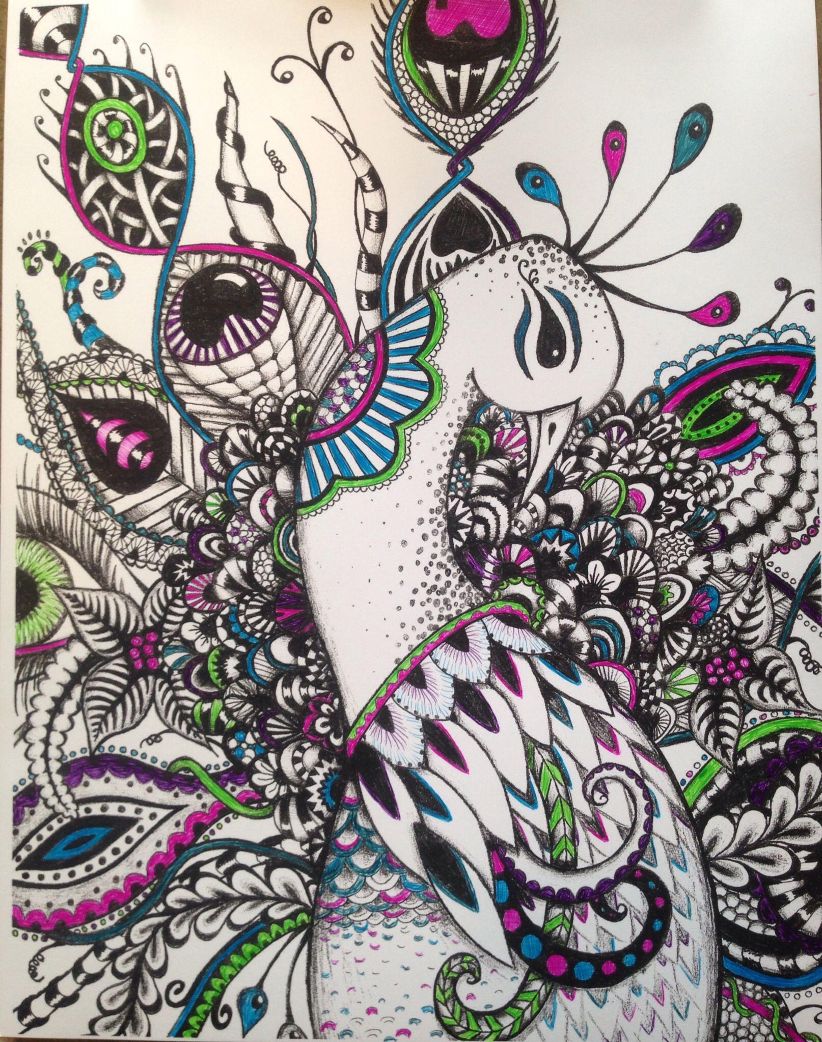 zentangle color splash peacock doodle