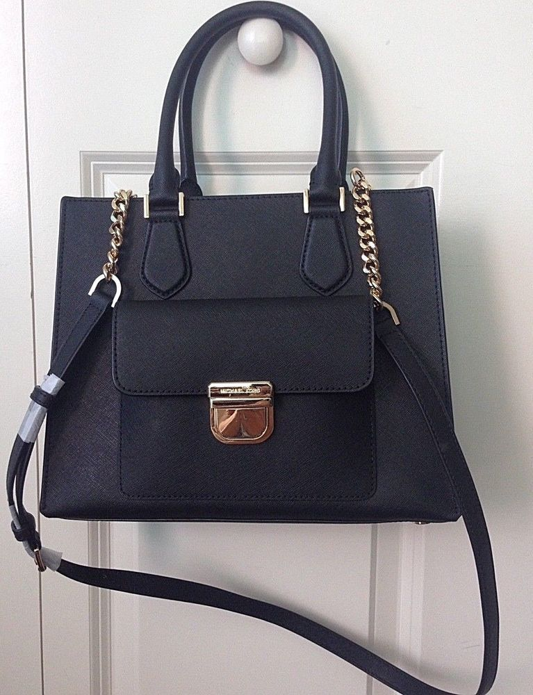 aaf6ab5eb66bda Michael Kors Saffiano Leather BRIDGETTE Medium EW Tote Bag in Black ...