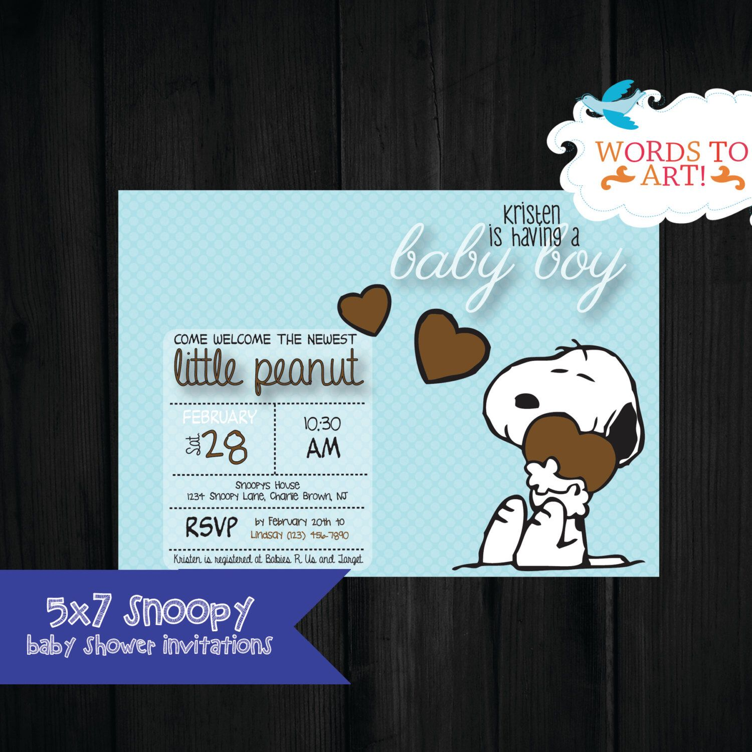 CUSTOM Snoopy Baby Shower Invitations- Boy or Girl-- Pick Your ...