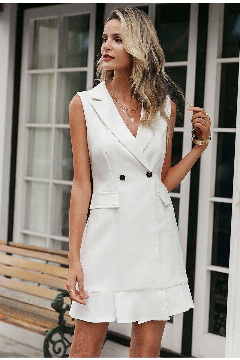 White Buttons Blazer Mini Dress Bryony Portrait Free Self Delivery White Blazer Women Sleeveless Blazer Work Dresses For Women [ 1200 x 800 Pixel ]