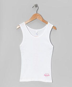 This Dance World Bazaar White 'Love Dance' Tank - Girls & Women by Dance World Bazaar is perfect! #zulilyfinds