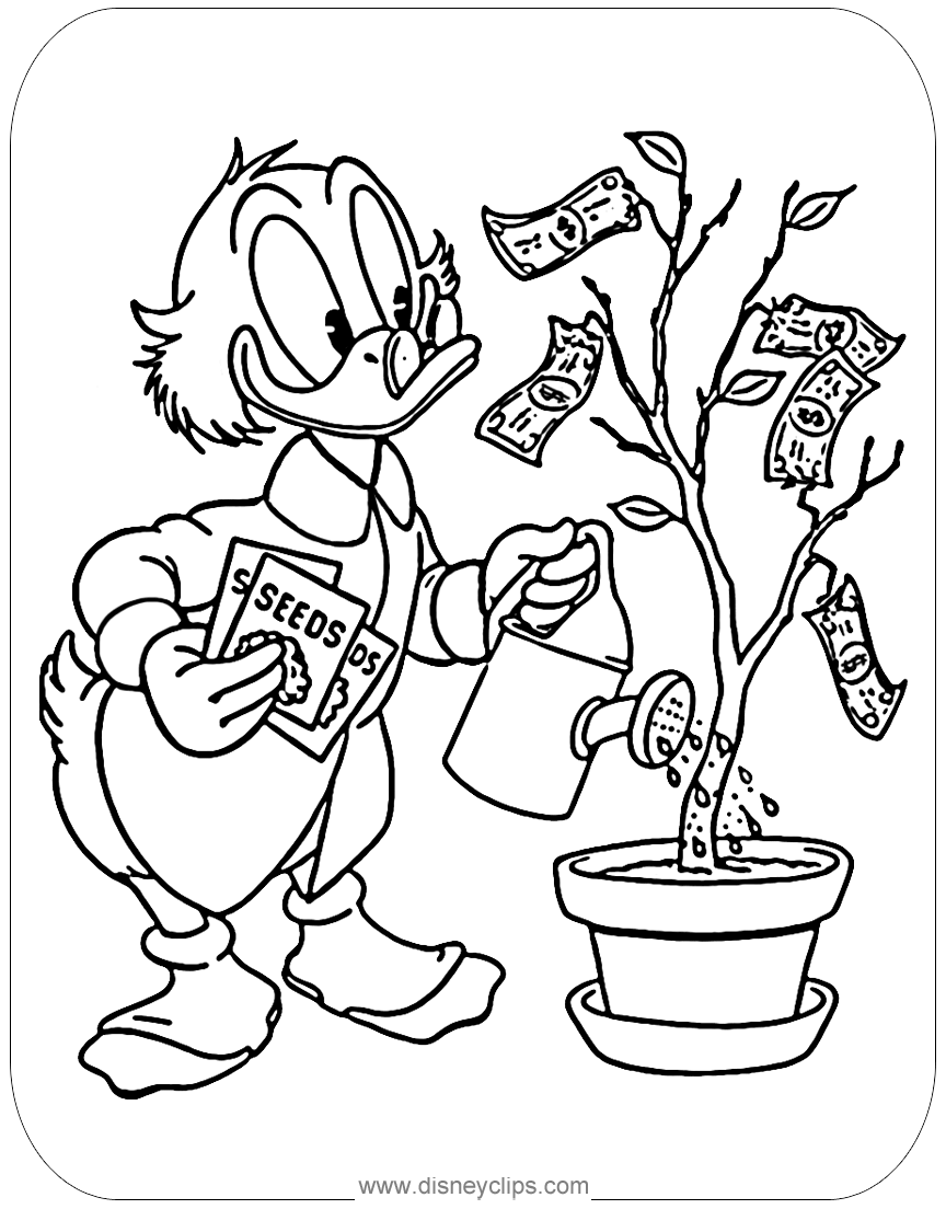 Scrooge Mcduck Watering His Money Tree Disney Coloring Pages