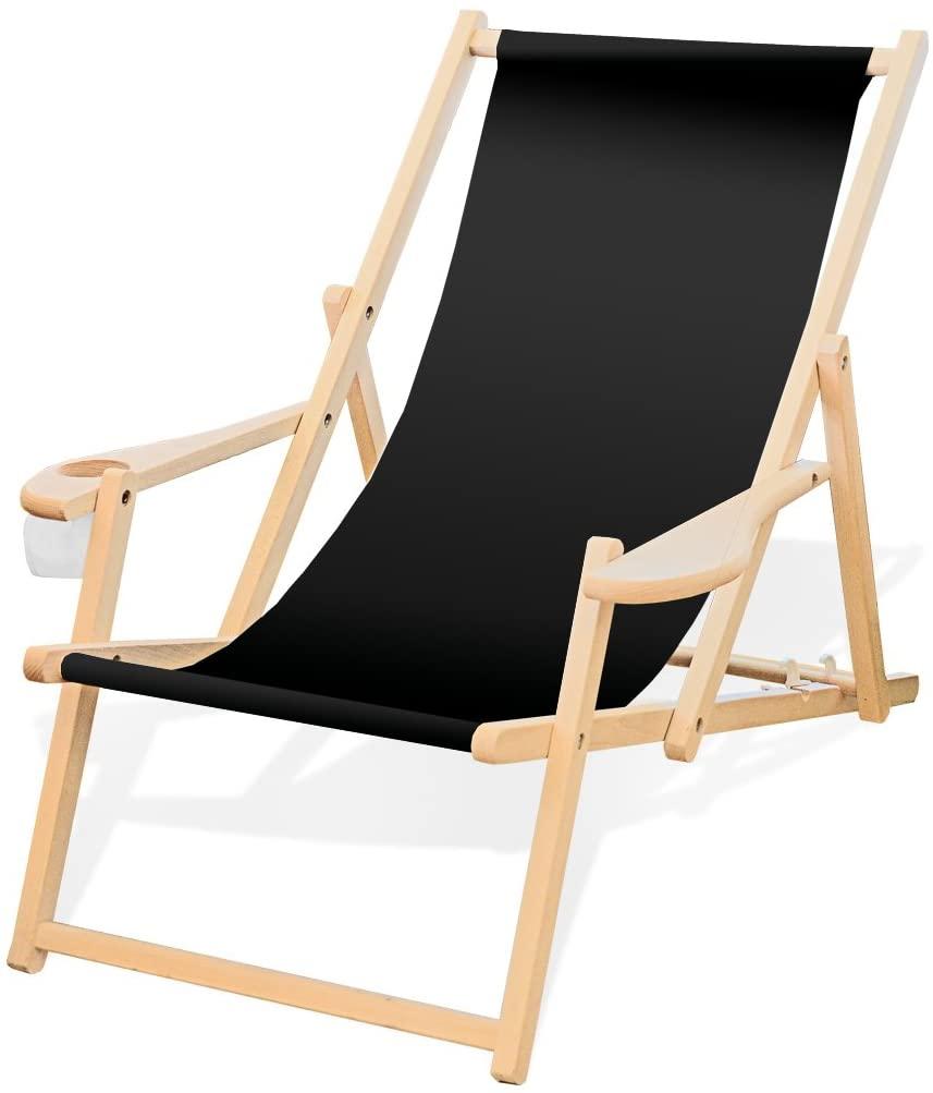Amazon De Holz Liegestuhl Mit Armlehne Und Getrankehalter Klappbar Wechselbezug Schwarz Liegestuhl Stuhle Gartenliege Holz