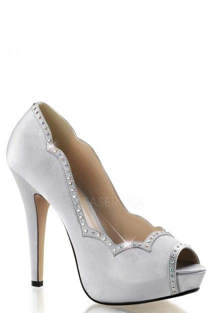 0fa9fdc46 Satin fabric upper in a peep toe pump design with rhinestone embellishment  on scalloped trim and toe opening. 5 inch heels and 1 inch platforms.