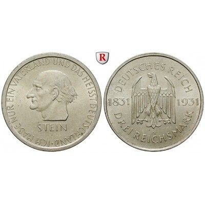 Weimarer Republik, 3 Reichsmark 1931, vom Stein, A, vz+, J