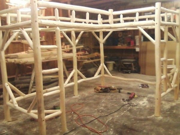 LShaped TwinTwin Log Loft Bed Frame 85000 95000 For