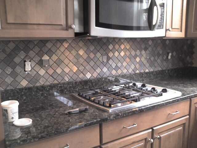 Ceramictec Multi Color Tumbled Slate Kitchen Backsplash From Slate  Backsplash Kitchen