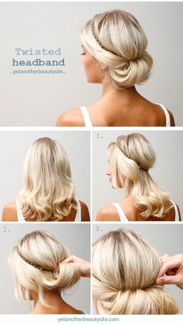 Twisted Headband Updo Hairstyle Blonde Medium Hiar Ideas For Summer Hair Lengths Medium Length Hair Styles Medium Hair Styles