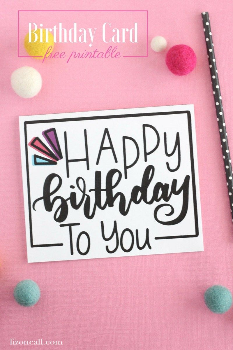 Hand Lettered Free Printable Birthday Card Free
