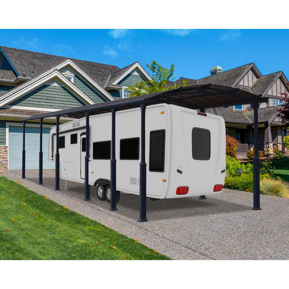 Palram Arcadia 12700 Alpine 12x42 Ft Elevated Carport The Home Depot In 2020 Rv Carports Carport Rv Shelter