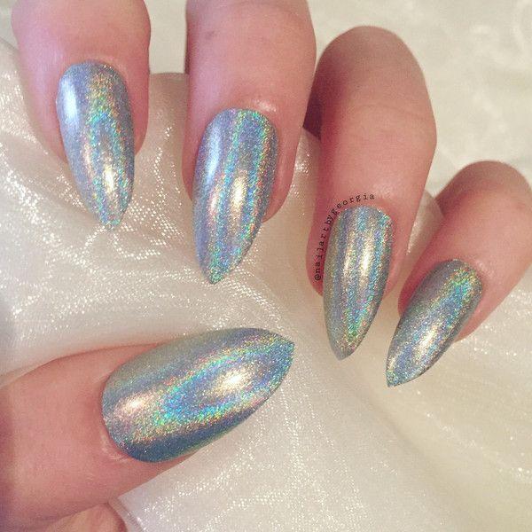 Silver Hologram Stiletto False Nails Silver Wedding Nails