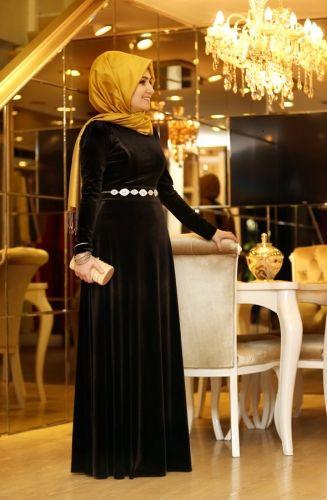 Pinar Sems Duz Kadife Abiye Siyah Velvet Evening Dress Dresses Hijab Dress