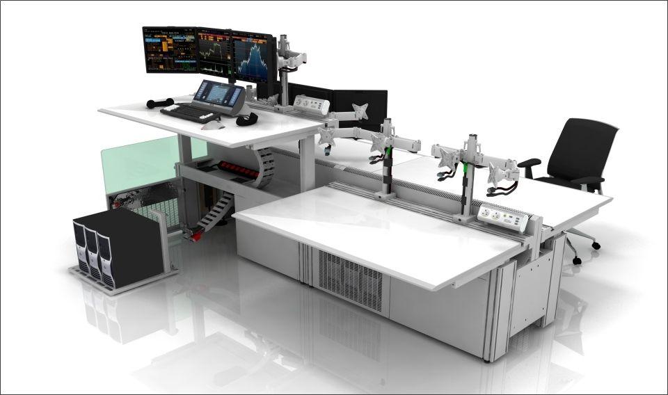 Furniture Futuristic Trading Desk Design Ideas In White With